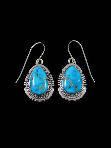 Sterling Silver Navajo Blue Bird Turquoise Dangle Earrings
