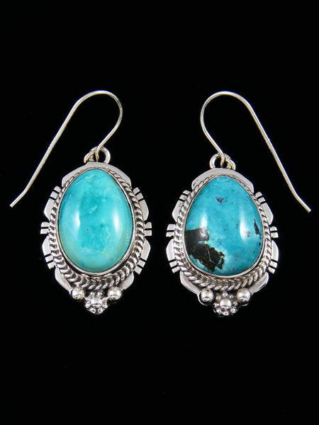 Sterling Silver Navajo Sierra Nevada Turquoise Dangle Earrings