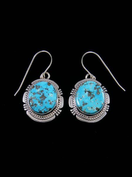 Sterling Silver Navajo Kingman Turquoise Dangle Earrings
