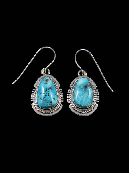 Sterling Silver Navajo White Water Turquoise Dangle Earrings