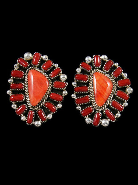 Navajo Sterling Silver Coral and Spiny Oyster Post Earrings