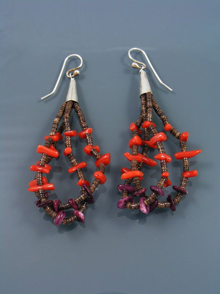 Navajo Coral and Spiny Oyster Beaded Dangle Earrings