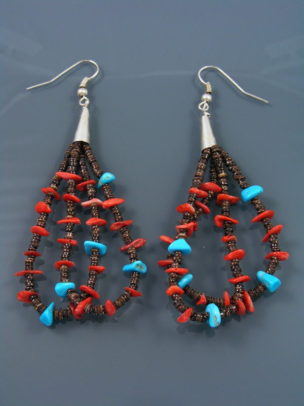 Navajo Spiny Oyster and Turquoise Bead Dangle Earrings