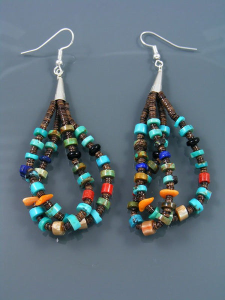 Navajo Heishi and Turquoise Beaded Dangle Earrings