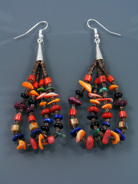 Navajo Heishi and Spiny Oyster Beaded Dangle Earrings