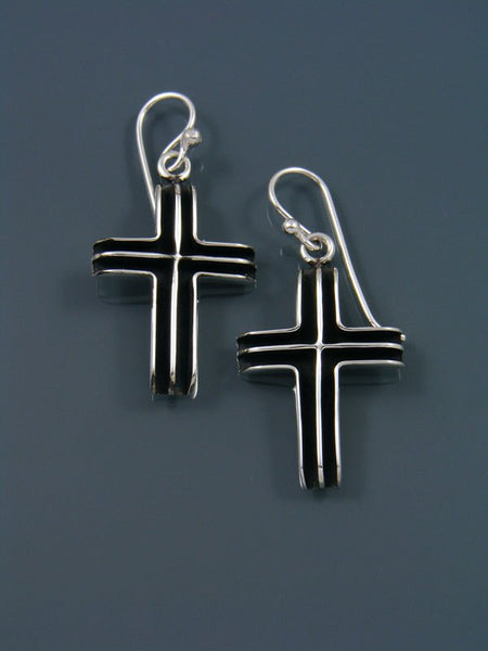 Native American Sterling Silver Dangle Cross Earrings