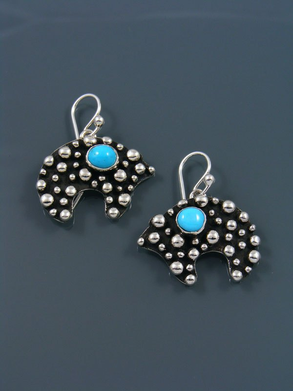 Native American Droplet and Cross Turquoise Bear Dangle Earrings