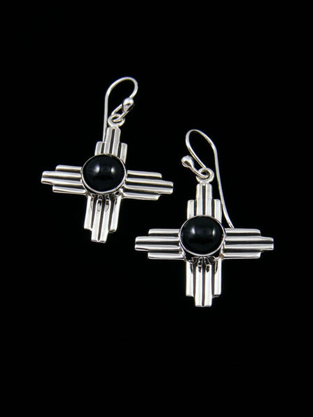 Navajo Sterling Silver Black Onyx Dangle Zia Earrings