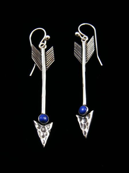 Native American Lapis Dangle Arrow Earrings