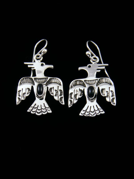 Navajo Onyx Sterling Silver Dangle Thunderbird Earrings