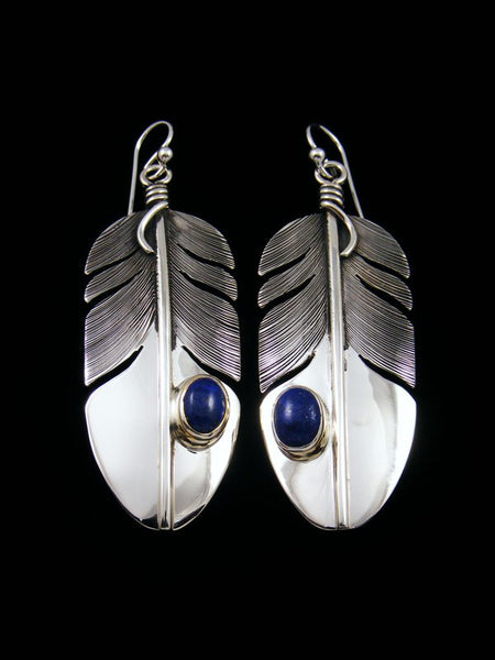 Native American Sterling Silver Lapis Dangle Feather Earrings