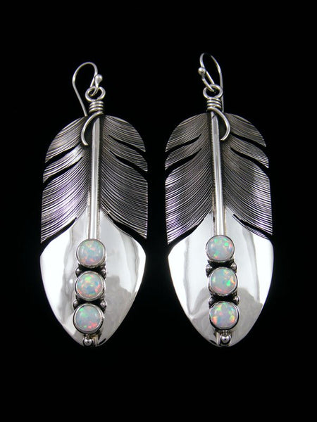Native American Sterling Silver Opalite Dangle Feather Earrings