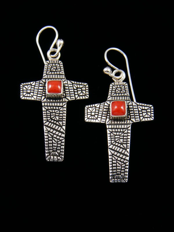 Navajo Sterling Silver Coral Cross Dangle Earrings