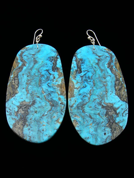 Large Santo Domingo Turquoise Dangle Earrings