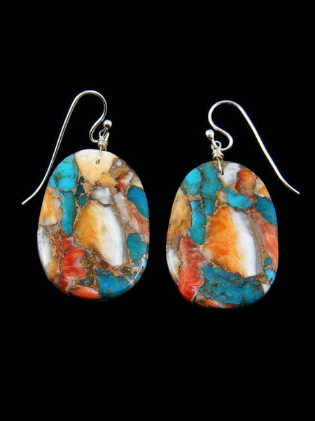 Santo Domingo Turquoise and Spiny Oyster Dangle Earrings