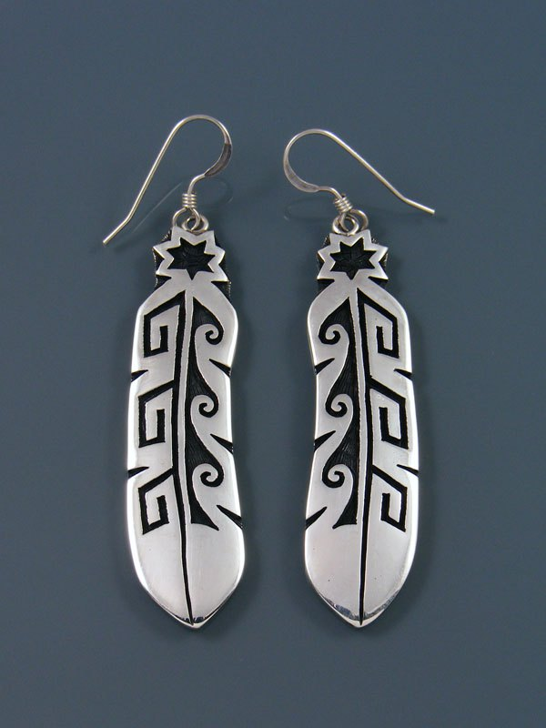 Hopi Overlay Sterling Silver Feather Earrings