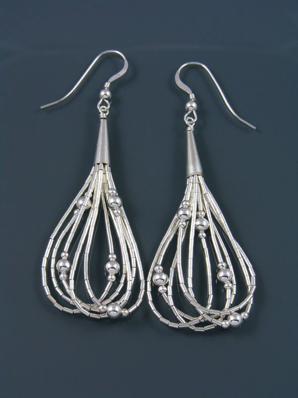 5 Strand Liquid Silver Dangle Earrings