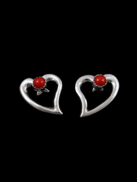 Navajo Jewelry Stamped Sterling Coral Post Heart Earrings