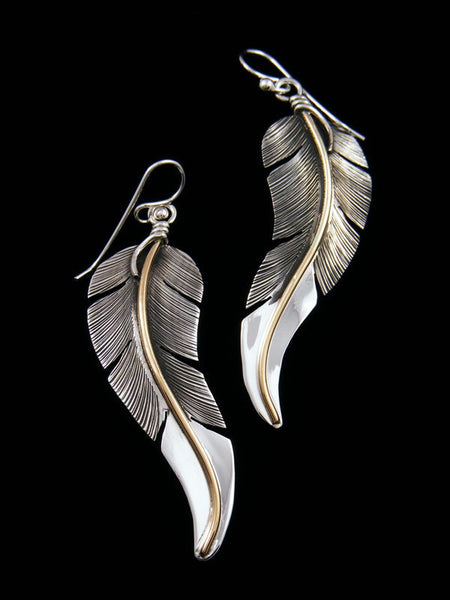 Navajo Sterling Silver and 12kt Gold Feather Earrings