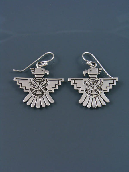 Navajo Sterling Silver Thunderbird Dangle Earrings
