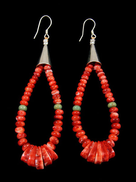 Navajo Red Spiny Oyster Bead Dangle Earrings