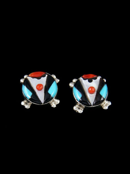 Native American Sterling Silver Zuni Inlay Post Earrings