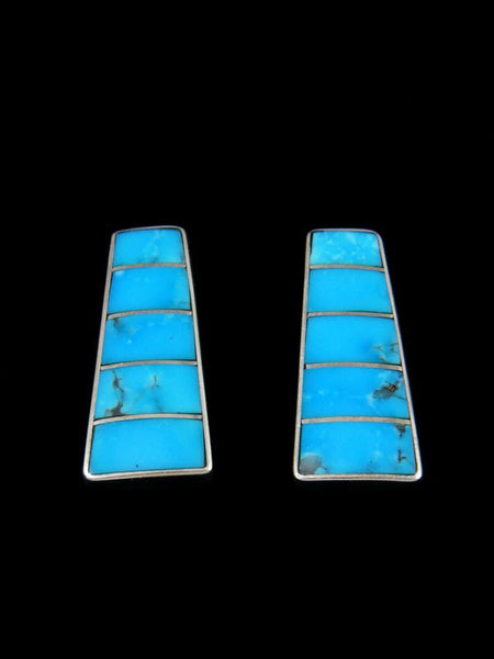 Turquoise Zuni Inlay Post Earrings