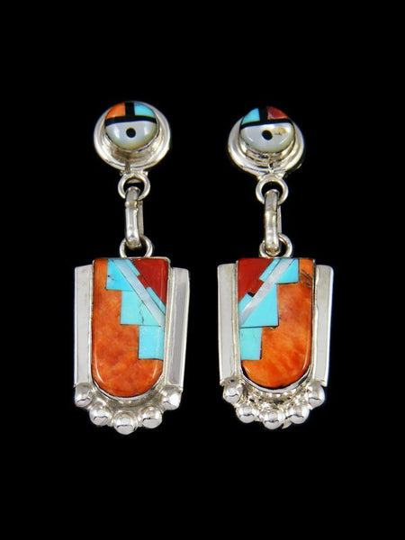 Spiny Oyster Zuni Inlay Sunface Post Earrings