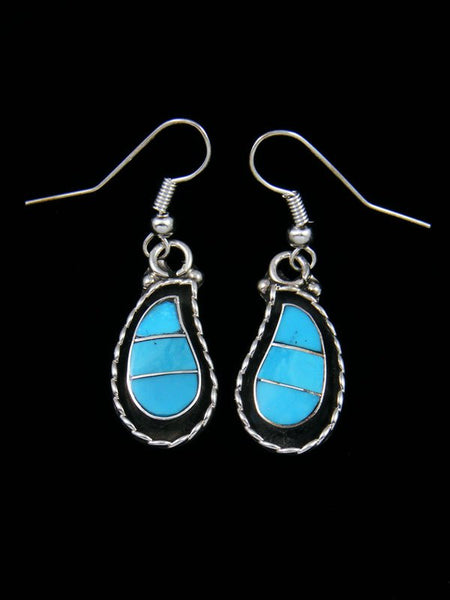 Sterling Silver Shadowbox Zuni Dangle Earrings