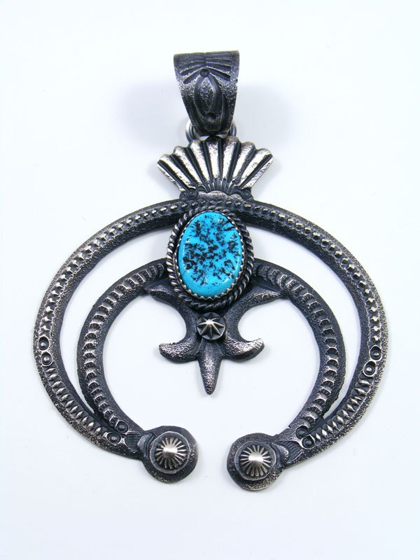 Native American Indian Turquoise Sterling Silver Naja Pendant