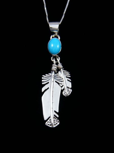 Navajo Crafted Sterling Silver Sleeping Beauty Turquoise Feather Pendant