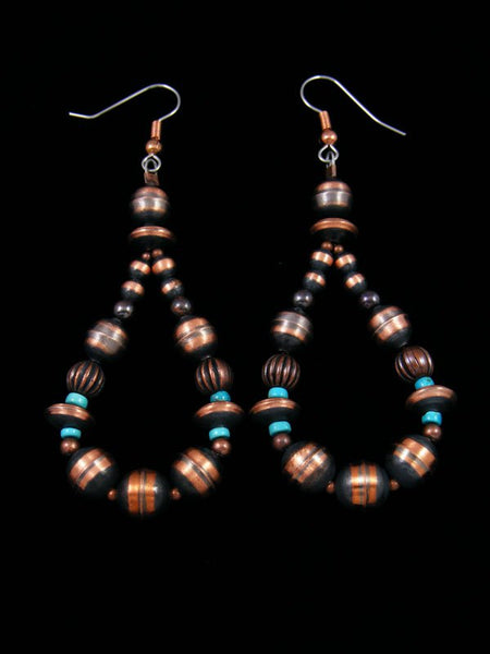 Native American Copper and Turquoise Dangle Earrings