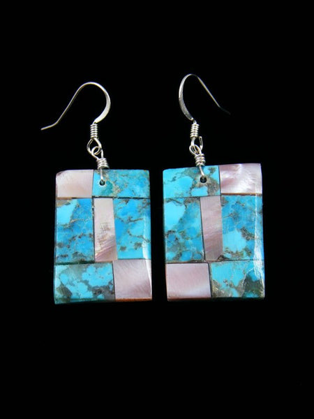 Pink Shell and Turquoise Santo Domingo Mosaic Inlay Earrings