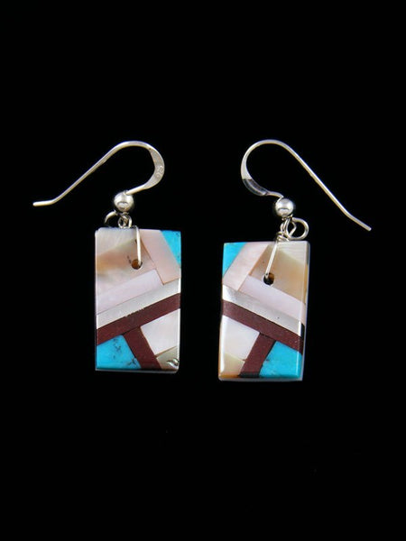 Turquoise and Mother of Pearl Santo Domingo Inlay Dangle Earrings