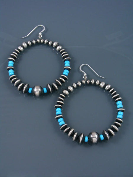 Turquoise and Sterling Silver Bead Dangle Earrings