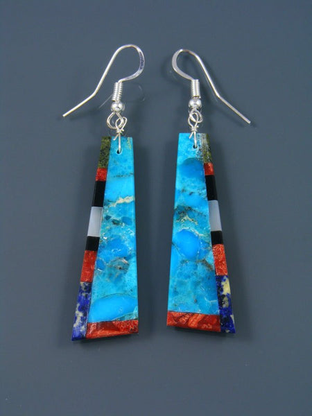 Mosaic Turquoise Santo Domingo Dangle Earrings