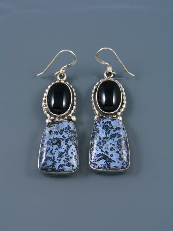 Navajo Dendritic Agate and Onyx Dangle Earrings