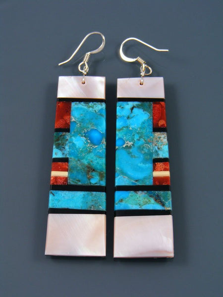 Mosaic Pink Shell Santo Domingo Dangle Earrings