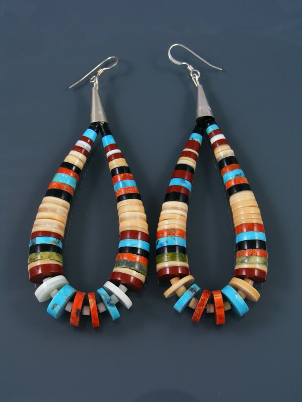 Shell and Turquoise Bead Santo Domingo Dangle Earrings