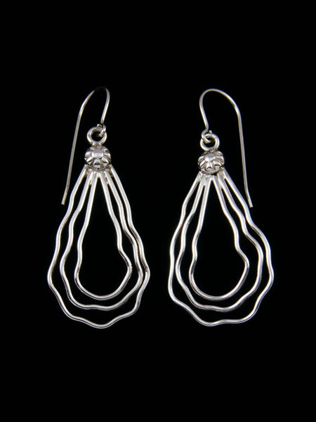 Navajo Jewelry Sterling Silver Sculpted Wire Dangle Earrings