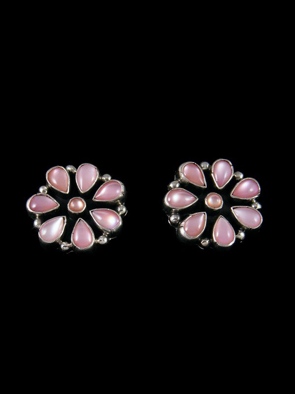 Navajo Pink Shell Sterling Silver Post Earrings