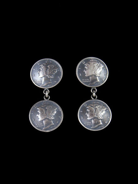 Navajo Mercury Winged Liberty Head Dime Post Earrings