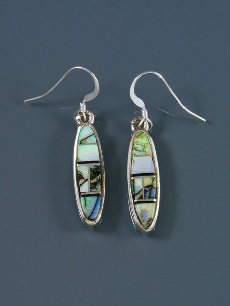 Navajo Sterling Silver Monarch Opal Dangle Earrings