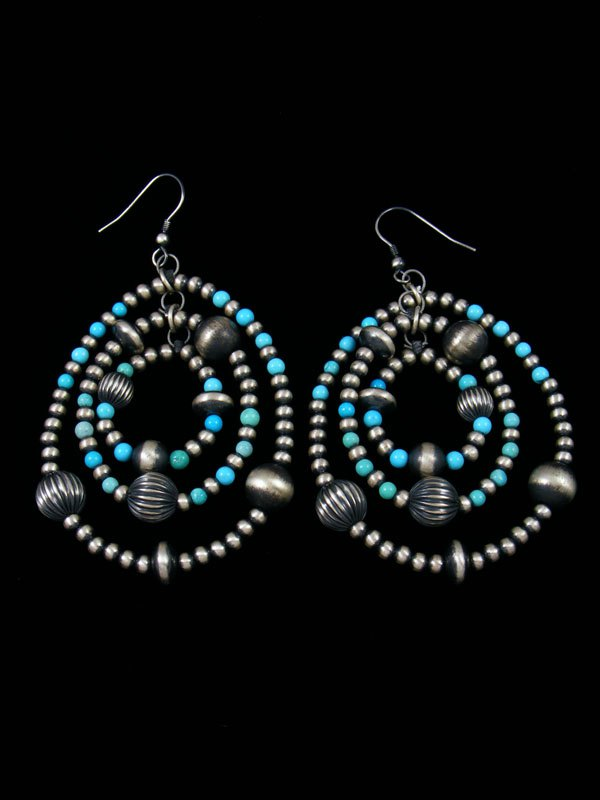 721dbc026 Native American Indian Jewelry Silver Bead Dangle Earrings by Ashley ...