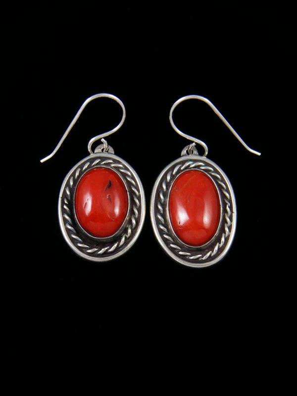 Navajo Sterling Silver Natural Coral Dangle Earrings