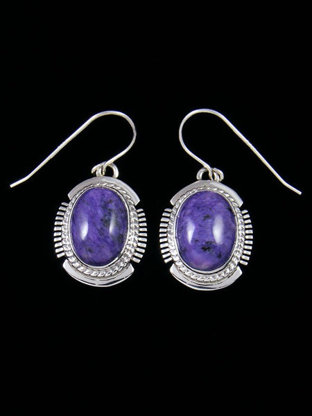 Native American Charoite Sterling Silver Dangle Earrings