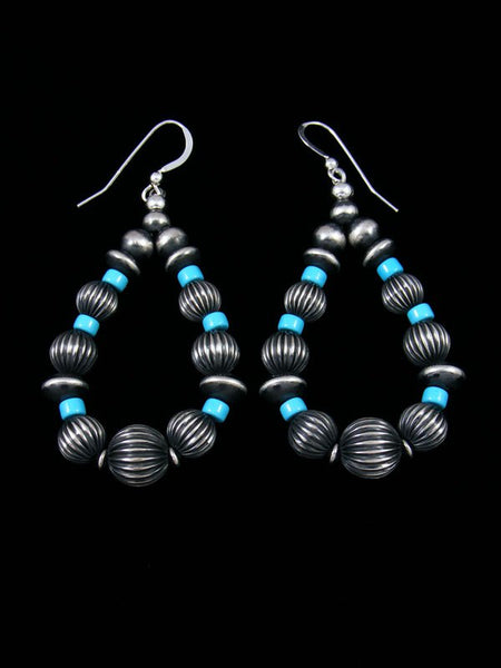 Navajo Sterling Silver Turquoise Beaded Dangle Earrings