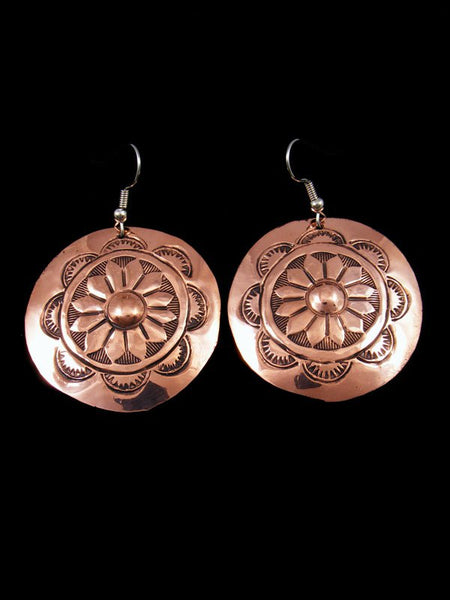 Navajo Stamped Basket Copper Dangle Earrings