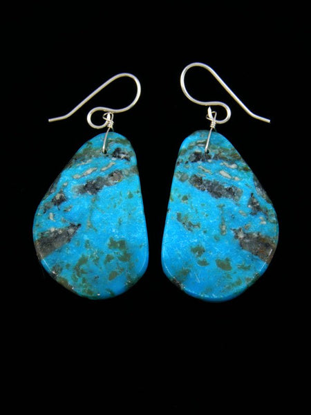 Navajo Turquoise Slab Dangle Earrings