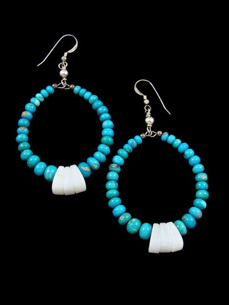 Navajo Sleeping Beauty Turquoise Jewelry Sterling Silver Beaded Dangle Earrings